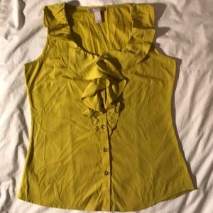 Banana Republic chartreuse sleeveless blouse